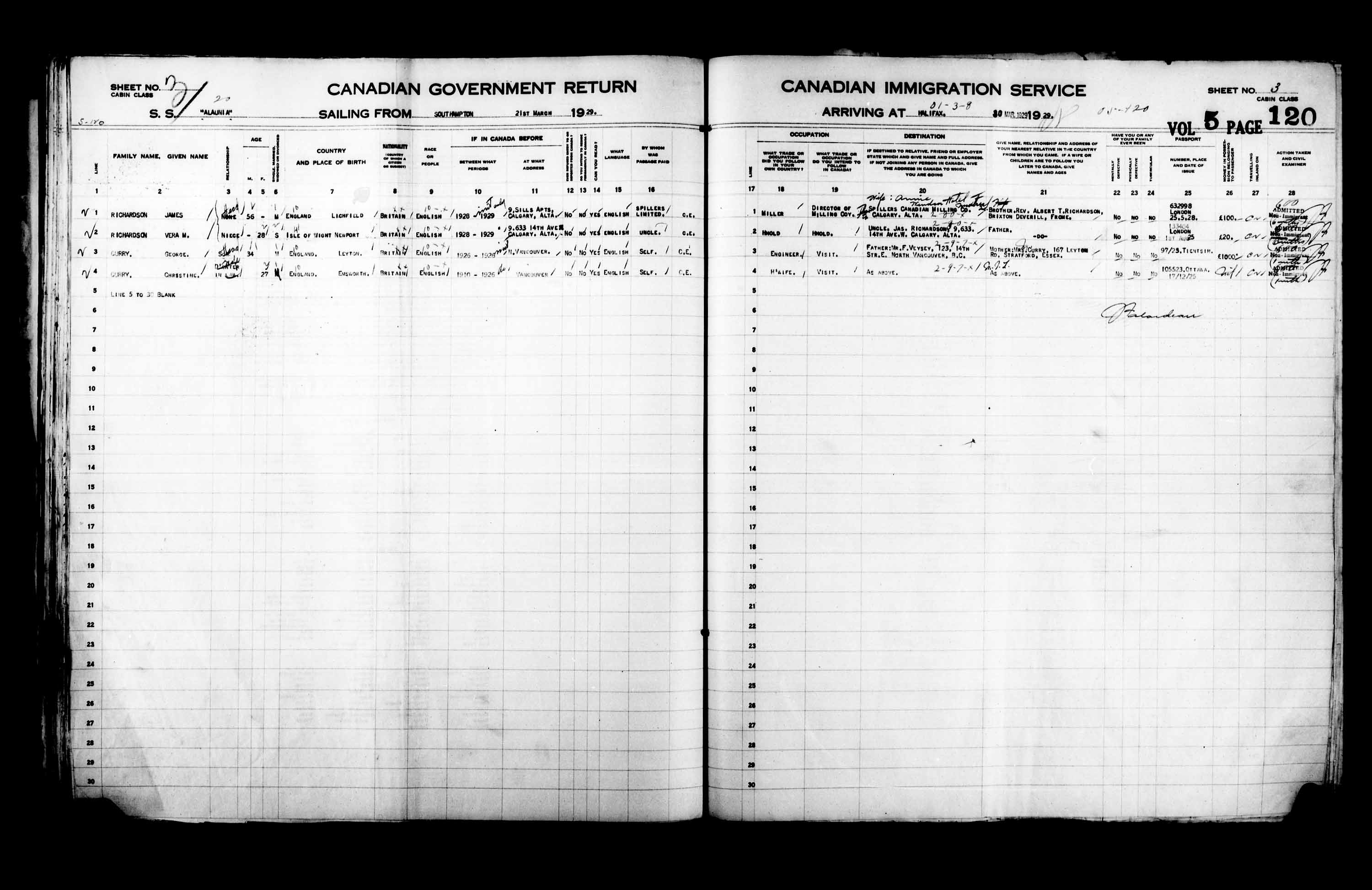Title: Passenger Lists: Halifax (1925-1935) - Mikan Number: 134853 - Microform: t-14819