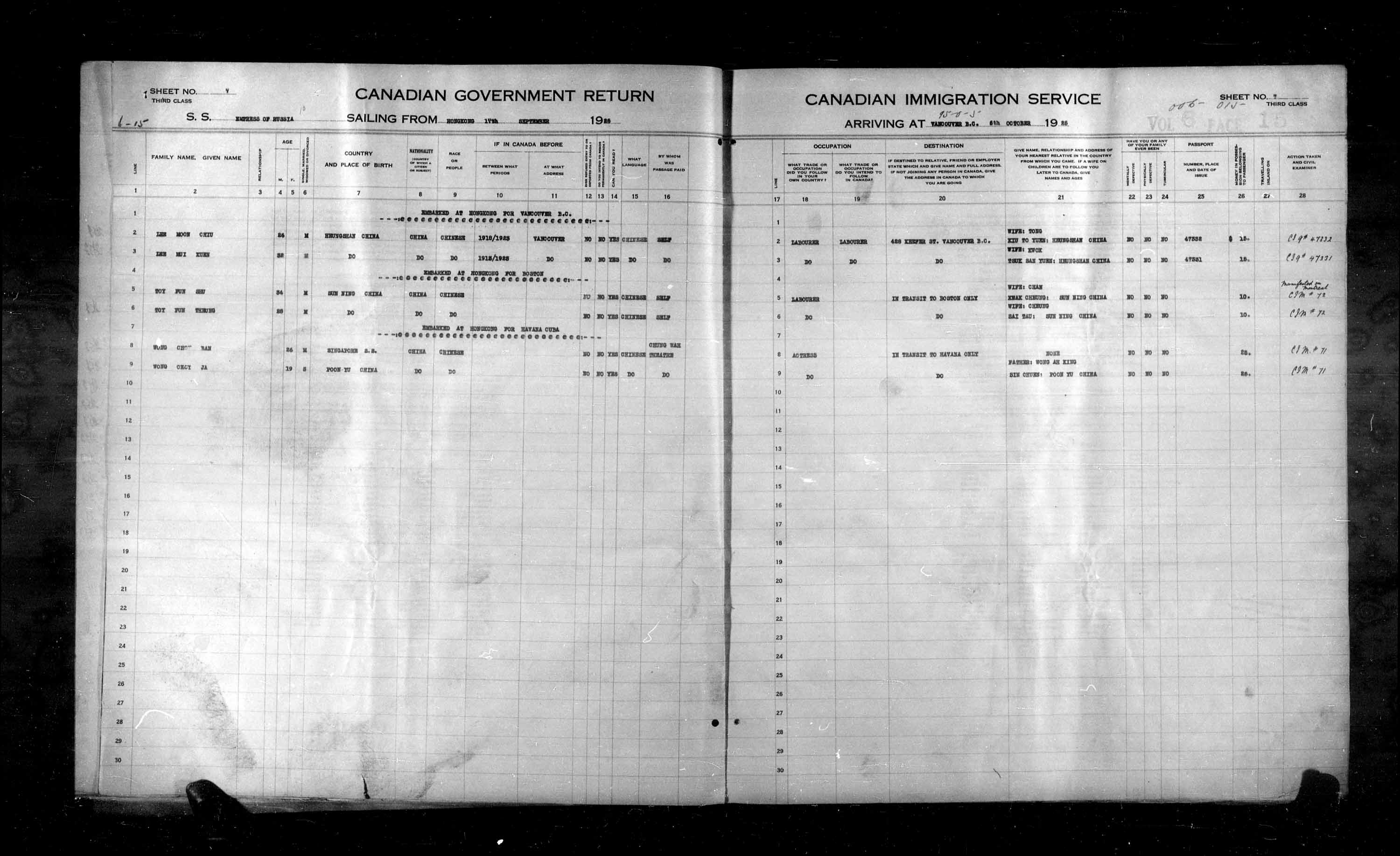 Title: Passenger Lists: Vancouver and Victoria (1925-1935) - Mikan Number: 161347 - Microform: t-14883