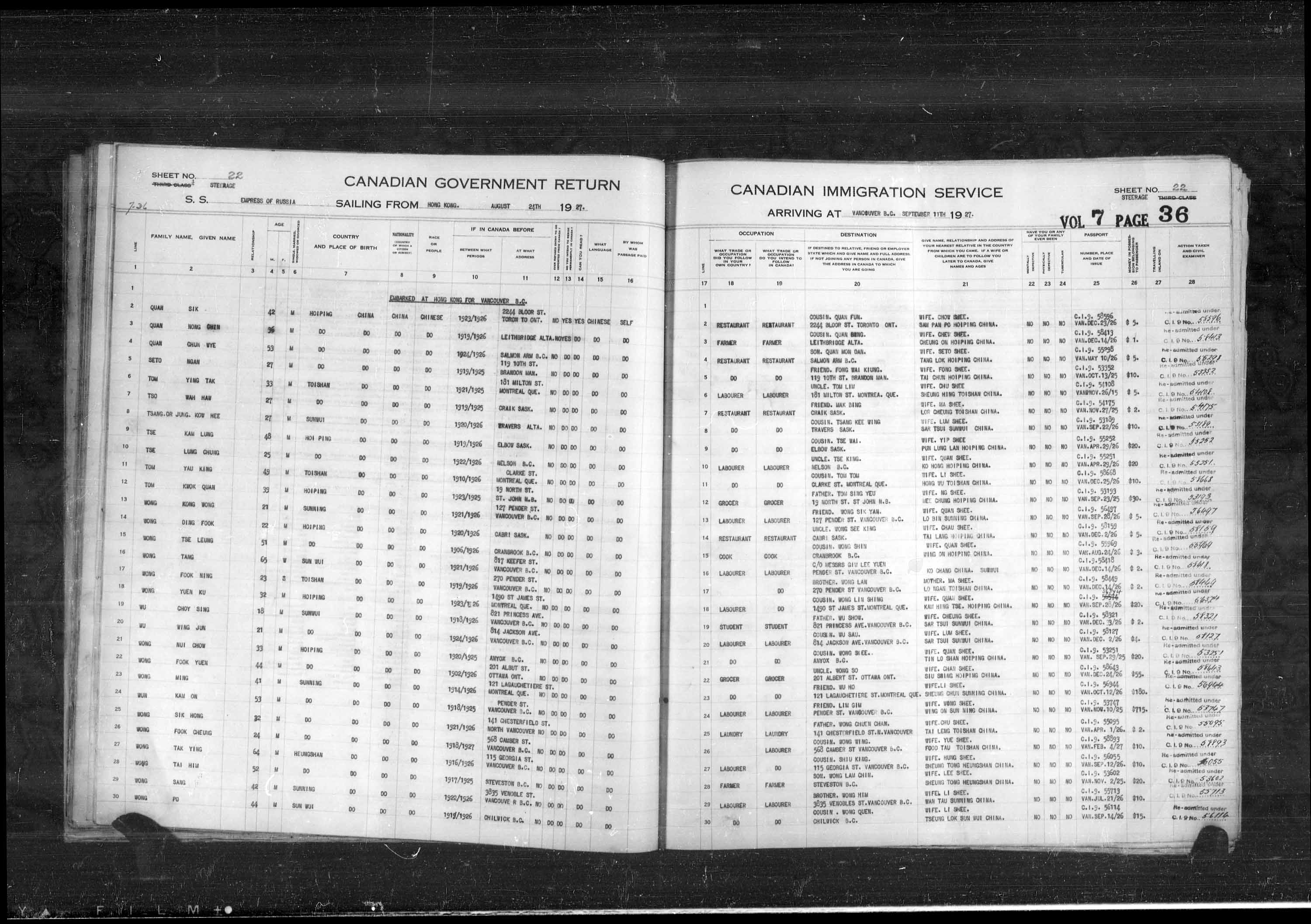 Title: Passenger Lists: Vancouver and Victoria (1925-1935) - Mikan Number: 161347 - Microform: t-14889