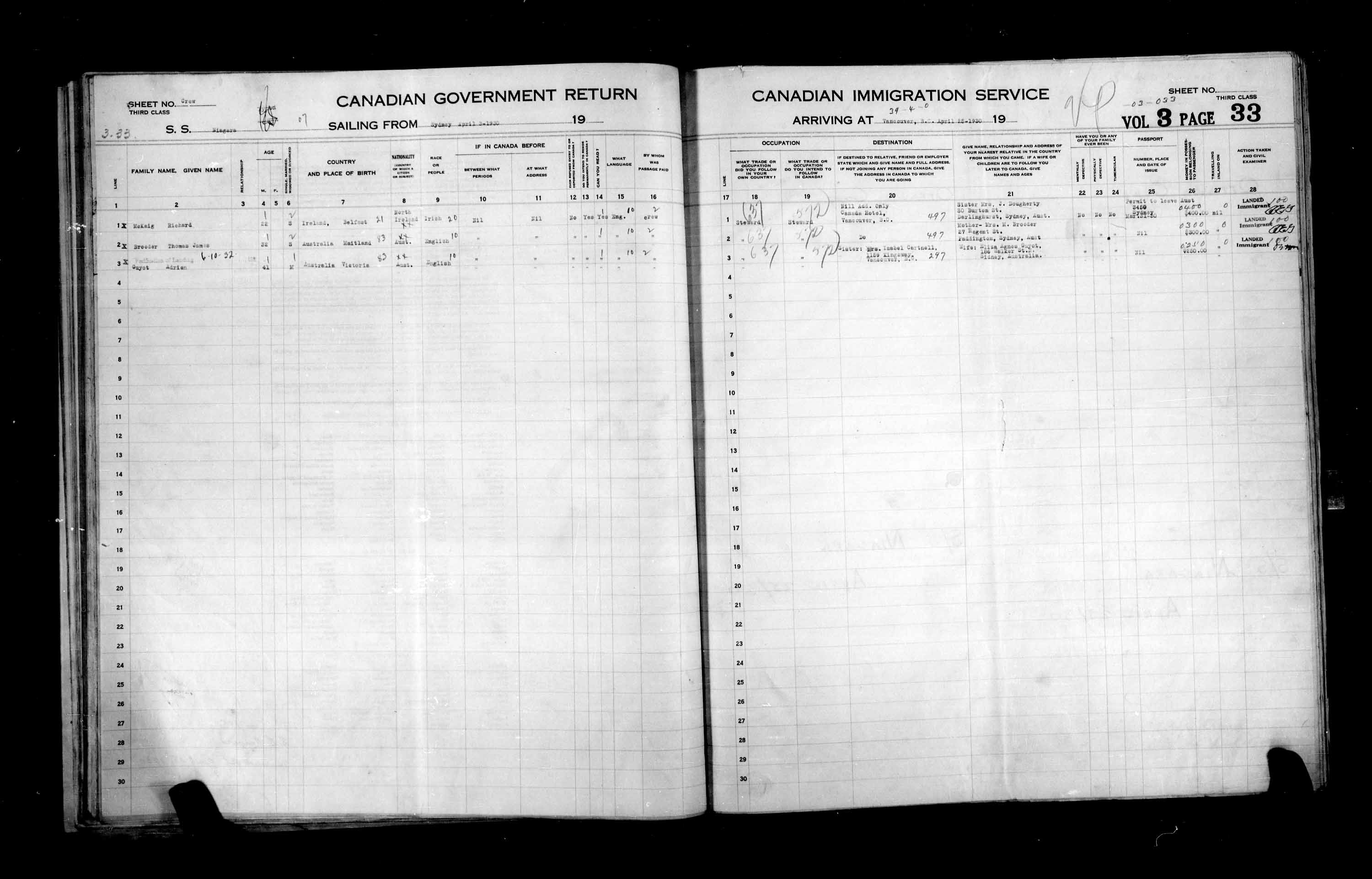 Title: Passenger Lists: Vancouver and Victoria (1925-1935) - Mikan Number: 161347 - Microform: t-14896