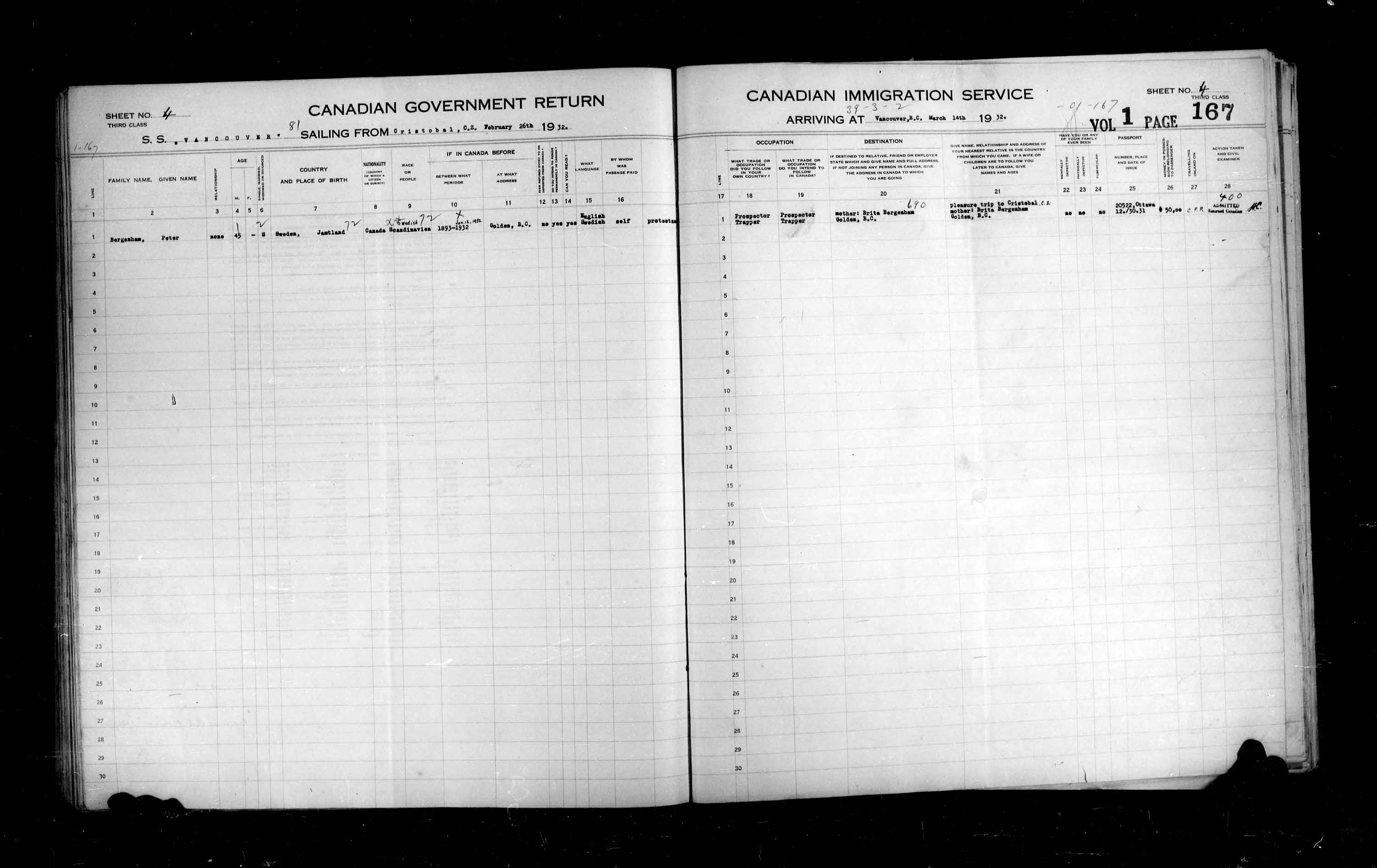Title: Passenger Lists: Vancouver and Victoria (1925-1935) - Mikan Number: 161347 - Microform: t-14900