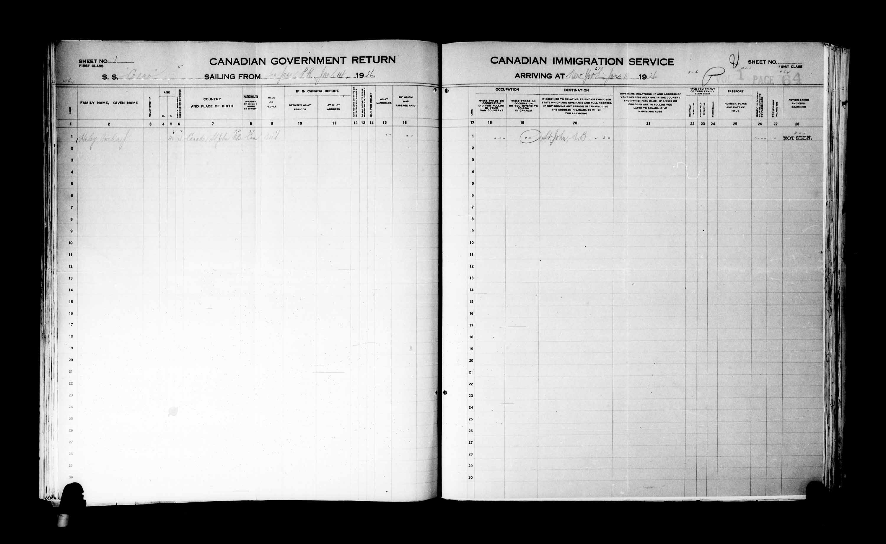 Title: Passenger Lists: New York (1925-1935) - Mikan Number: 161343 - Microform: t-14926