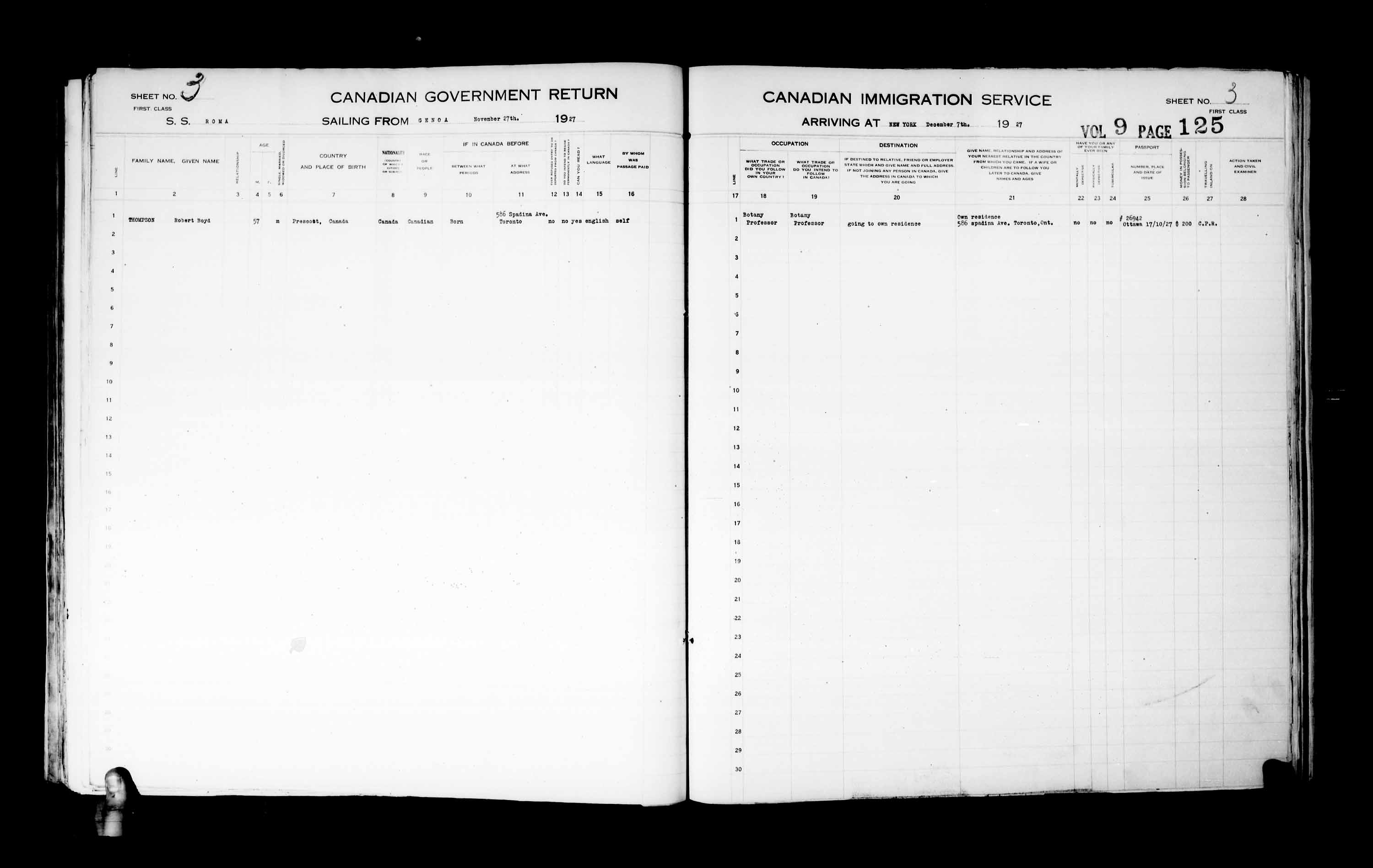 Title: Passenger Lists: New York (1925-1935) - Mikan Number: 161343 - Microform: t-14932