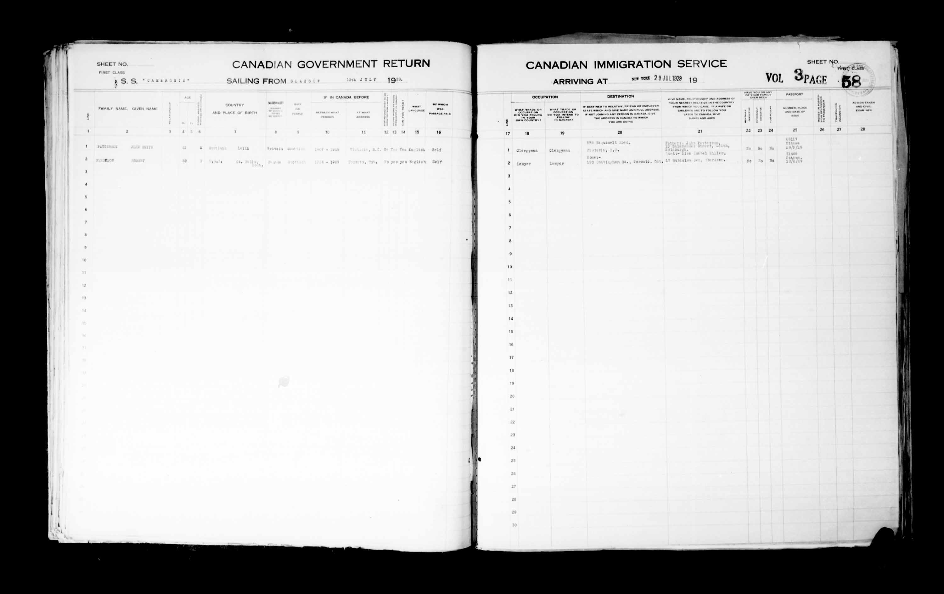 Title: Passenger Lists: New York (1925-1935) - Mikan Number: 161343 - Microform: t-14935