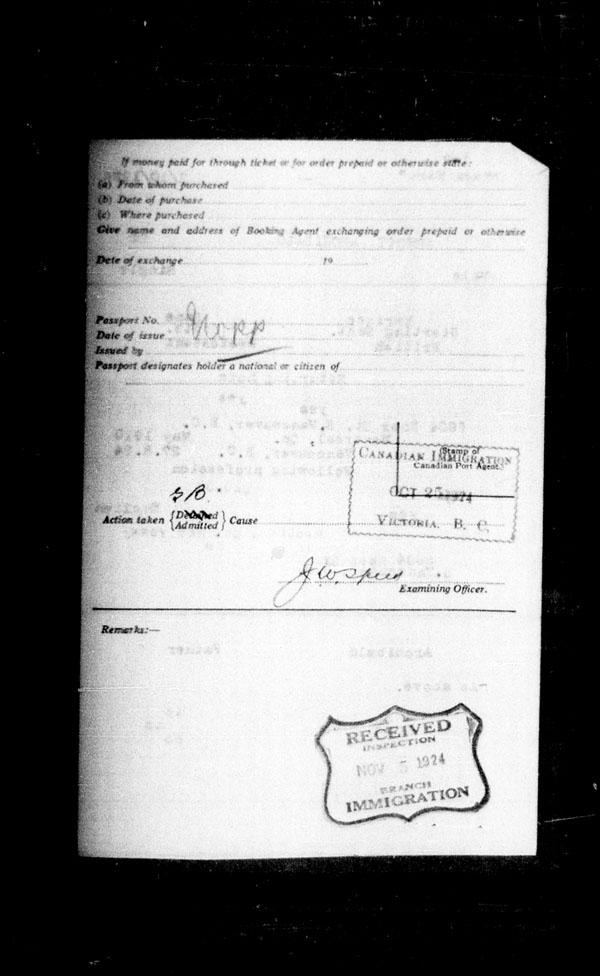 Title: Ocean Arrivals, Form 30A, 1919-1924 - Mikan Number: 161349 - Microform: t-14946