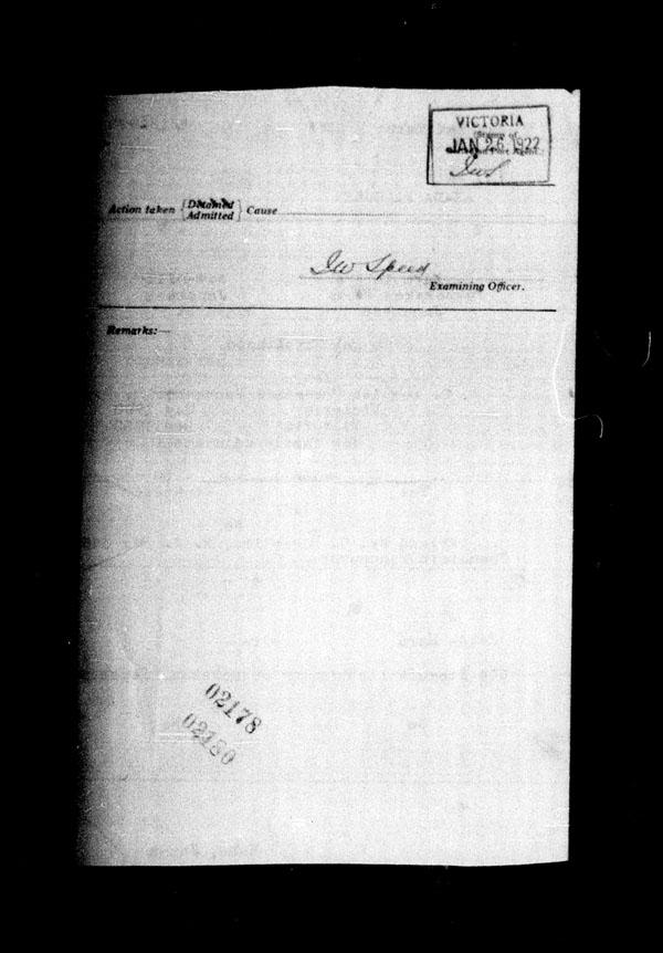 Title: Ocean Arrivals, Form 30A, 1919-1924 - Mikan Number: 161349 - Microform: t-14947