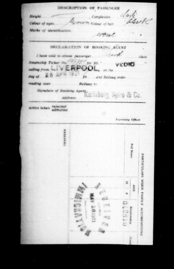 Title: Ocean Arrivals, Form 30A, 1919-1924 - Mikan Number: 161349 - Microform: t-14962