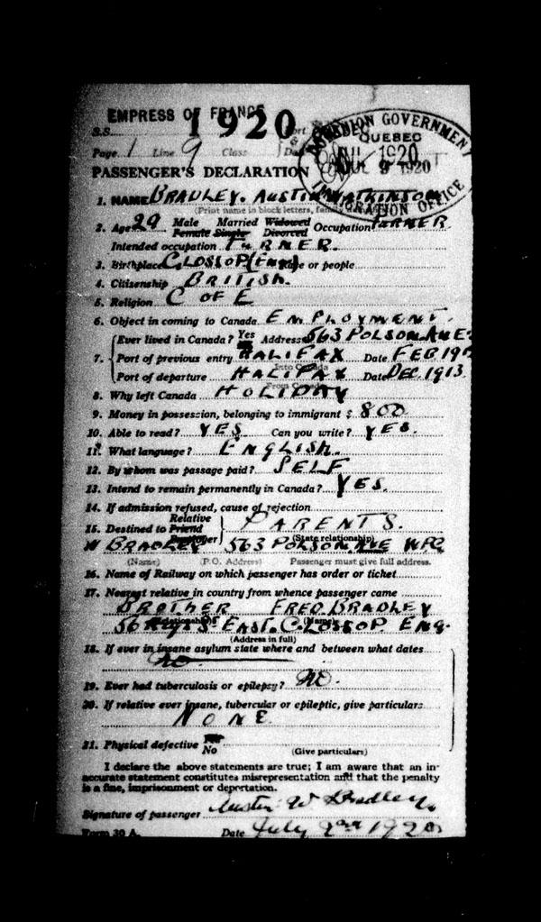 Title: Ocean Arrivals, Form 30A, 1919-1924 - Mikan Number: 161349 - Microform: t-14968