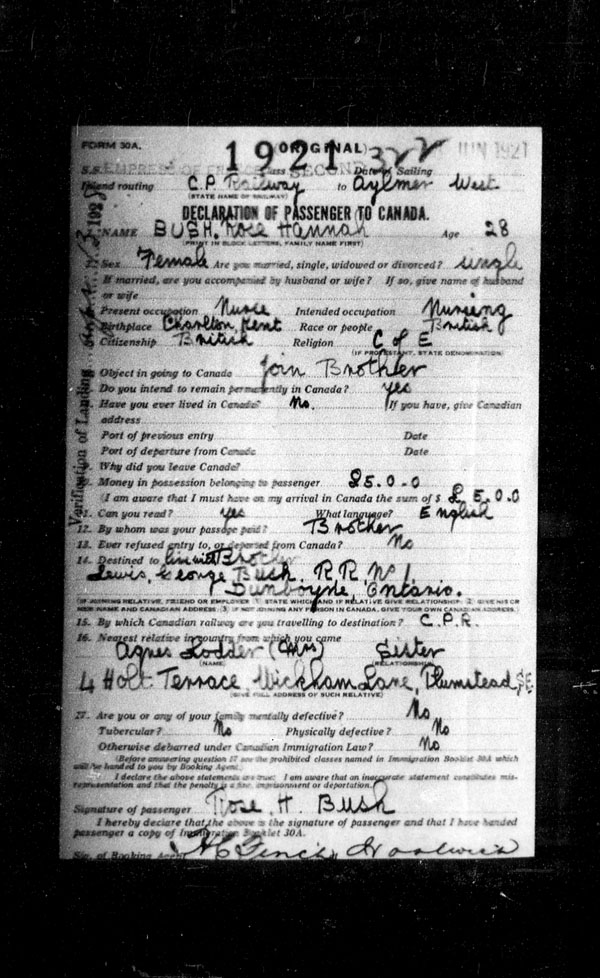 Title: Ocean Arrivals, Form 30A, 1919-1924 - Mikan Number: 161349 - Microform: t-14977
