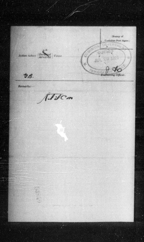 Title: Ocean Arrivals, Form 30A, 1919-1924 - Mikan Number: 161349 - Microform: t-14987