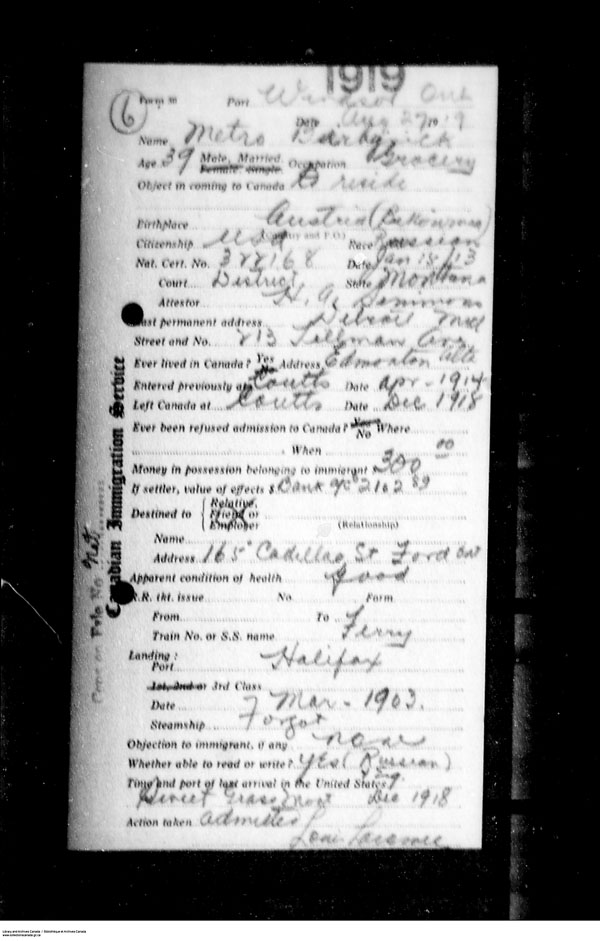 Title: Border Entry, Form 30, 1919-1924 - Mikan Number: 161377 - Microform: t-15256