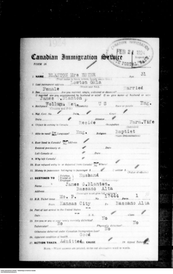 Titre: Arrivées par la frontière, formulaire 30, 1919-1924 - N° d'enregistrement Mikan: 179163 - Microforme: t-15257