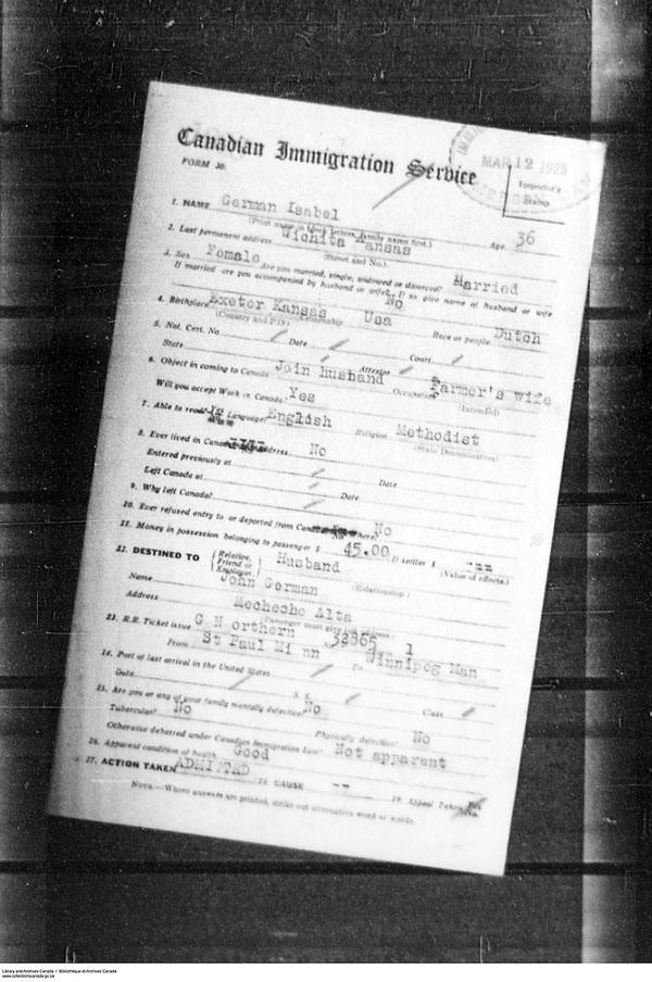 Titre: Arrivées par la frontière, formulaire 30, 1919-1924 - N° d'enregistrement Mikan: 179163 - Microforme: t-15281