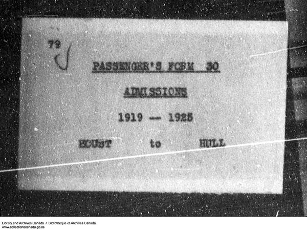 Titre: Arrivées par la frontière, formulaire 30, 1919-1924 - N° d'enregistrement Mikan: 179163 - Microforme: t-15291