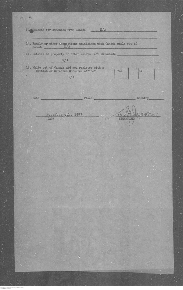 Titre: Arrivées par la frontière, formulaire 30, 1919-1924 - N° d'enregistrement Mikan: 179163 - Microforme: t-15292