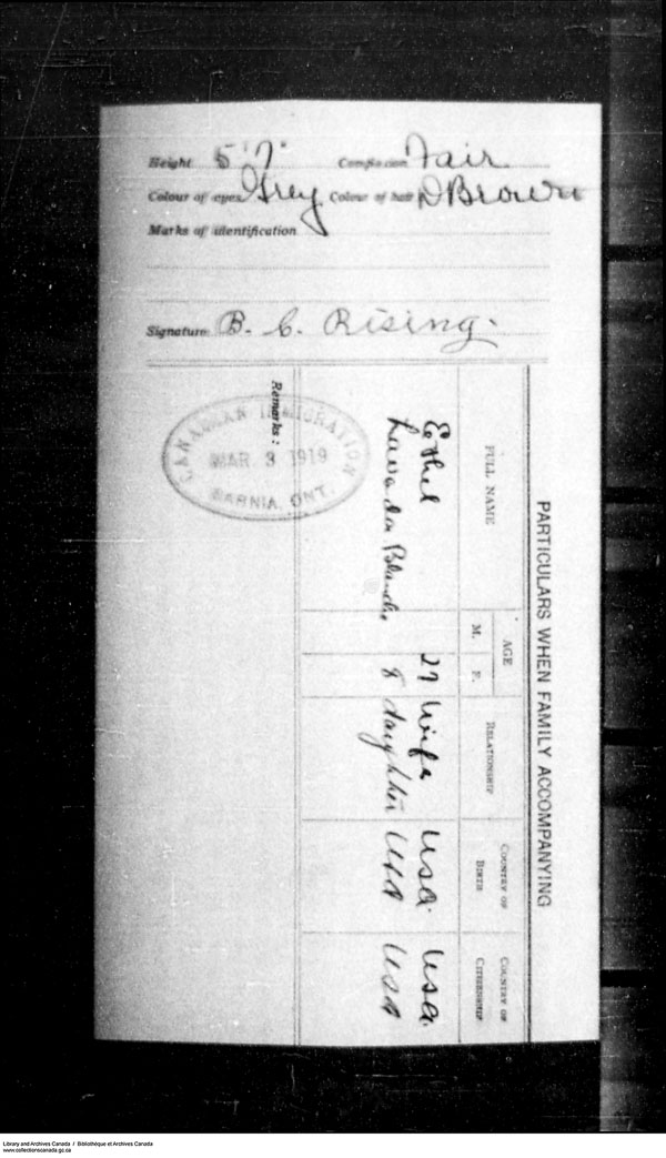 Titre: Arrivées par la frontière, formulaire 30, 1919-1924 - N° d'enregistrement Mikan: 179163 - Microforme: t-15323