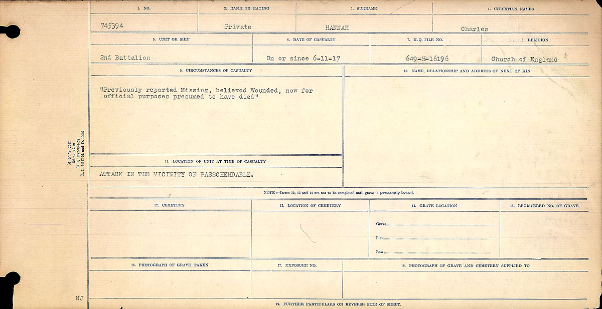 Title: Circumstances of Death Registers, First World War - Mikan Number: 46246 - Microform: 31829_B016683