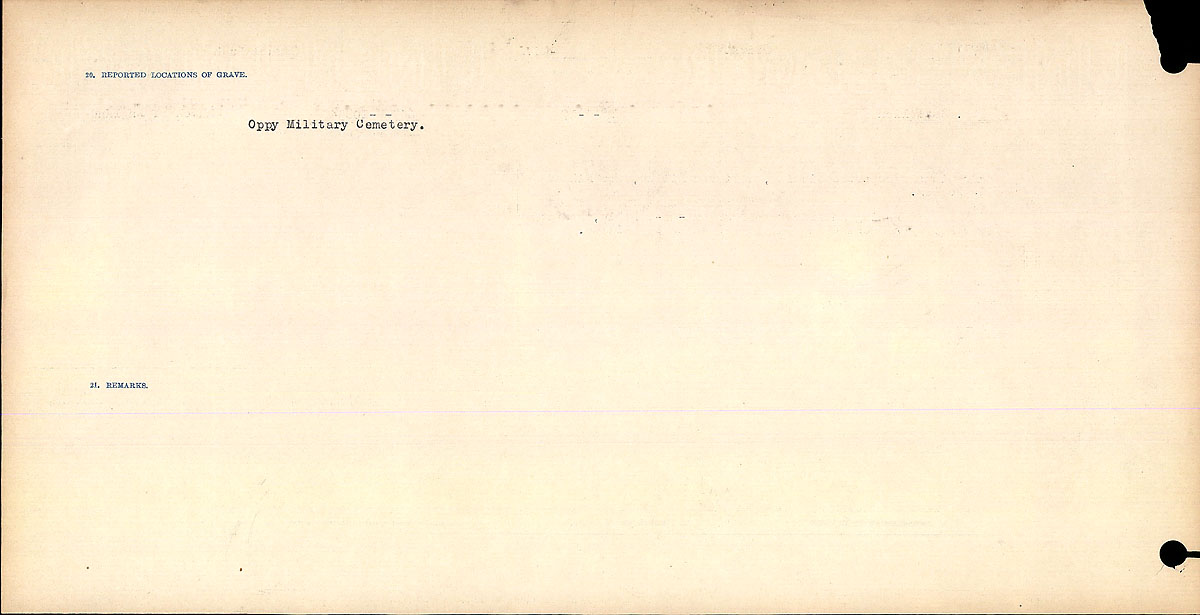 Title: Circumstances of Death Registers, First World War - Mikan Number: 46246 - Microform: 31829_B016684