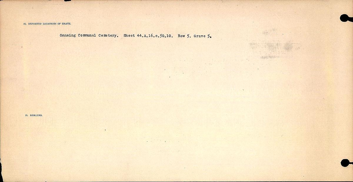 Titre: Registres de circonstances du décès, Première Guerre mondiale - N° d'enregistrement Mikan: 46246 - Microforme: 31829_B016686