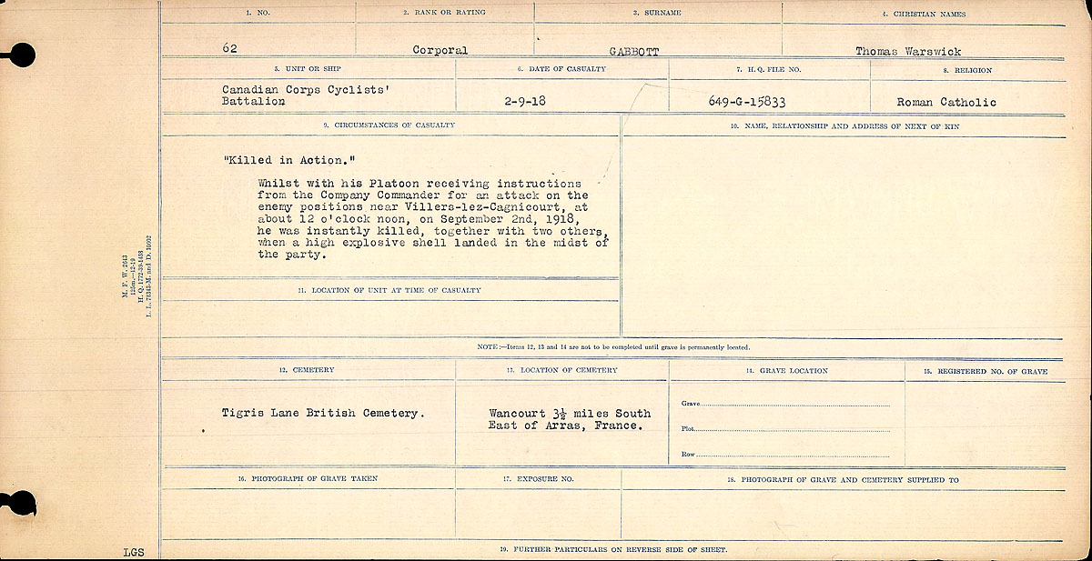 Title: Circumstances of Death Registers, First World War - Mikan Number: 46246 - Microform: 31829_B016691