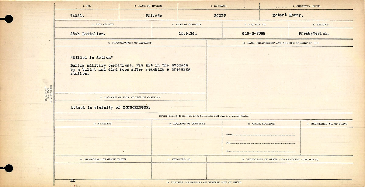 Title: Circumstances of Death Registers, First World War - Mikan Number: 46246 - Microform: 31829_B016700