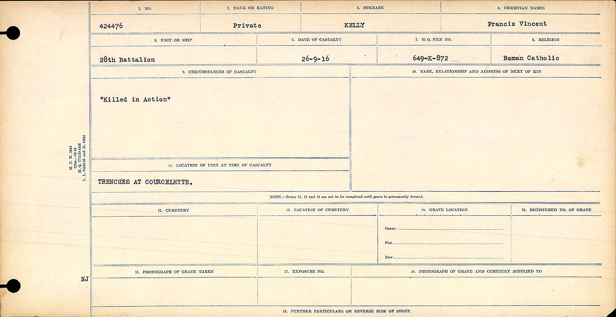 Title: Circumstances of Death Registers, First World War - Mikan Number: 46246 - Microform: 31829_B016705