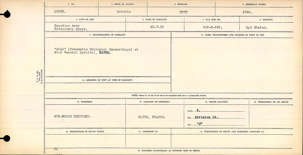 Title: Circumstances of Death Registers, First World War - Mikan Number: 46246 - Microform: 31829_B016706