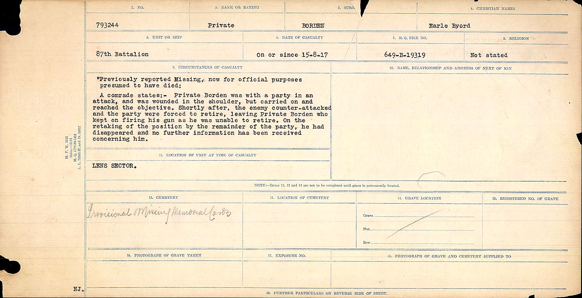 Title: Circumstances of Death Registers, First World War - Mikan Number: 46246 - Microform: 31829_B016721