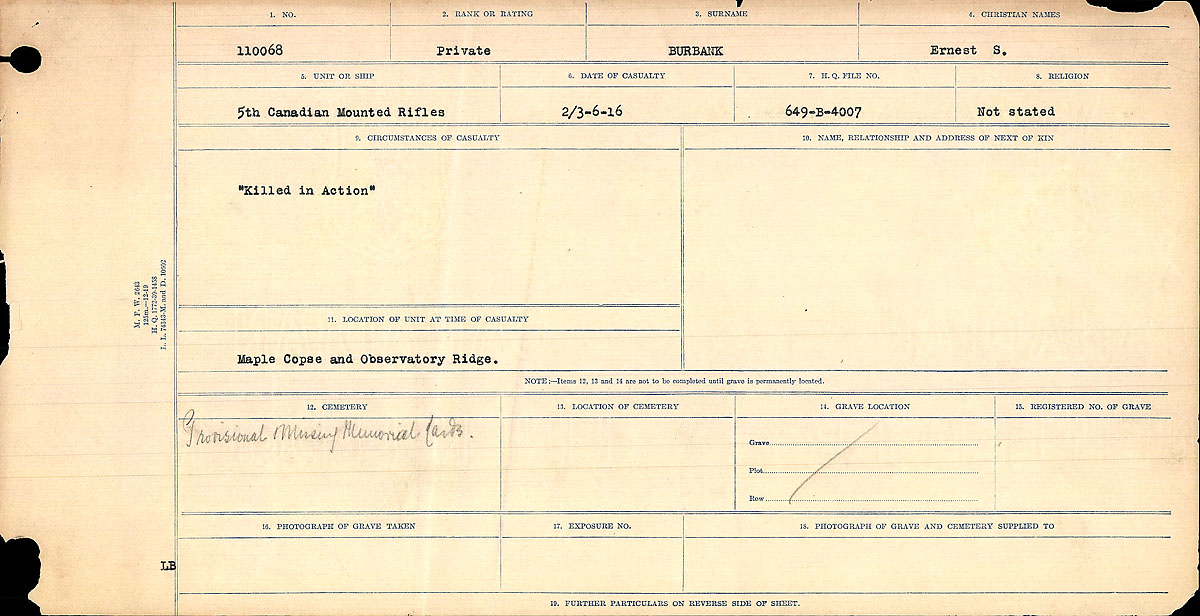 Title: Circumstances of Death Registers, First World War - Mikan Number: 46246 - Microform: 31829_B016725