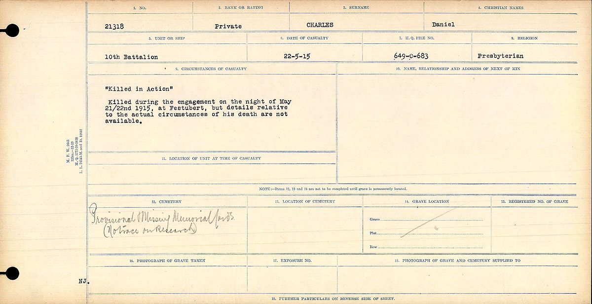 Title: Circumstances of Death Registers, First World War - Mikan Number: 46246 - Microform: 31829_B016728