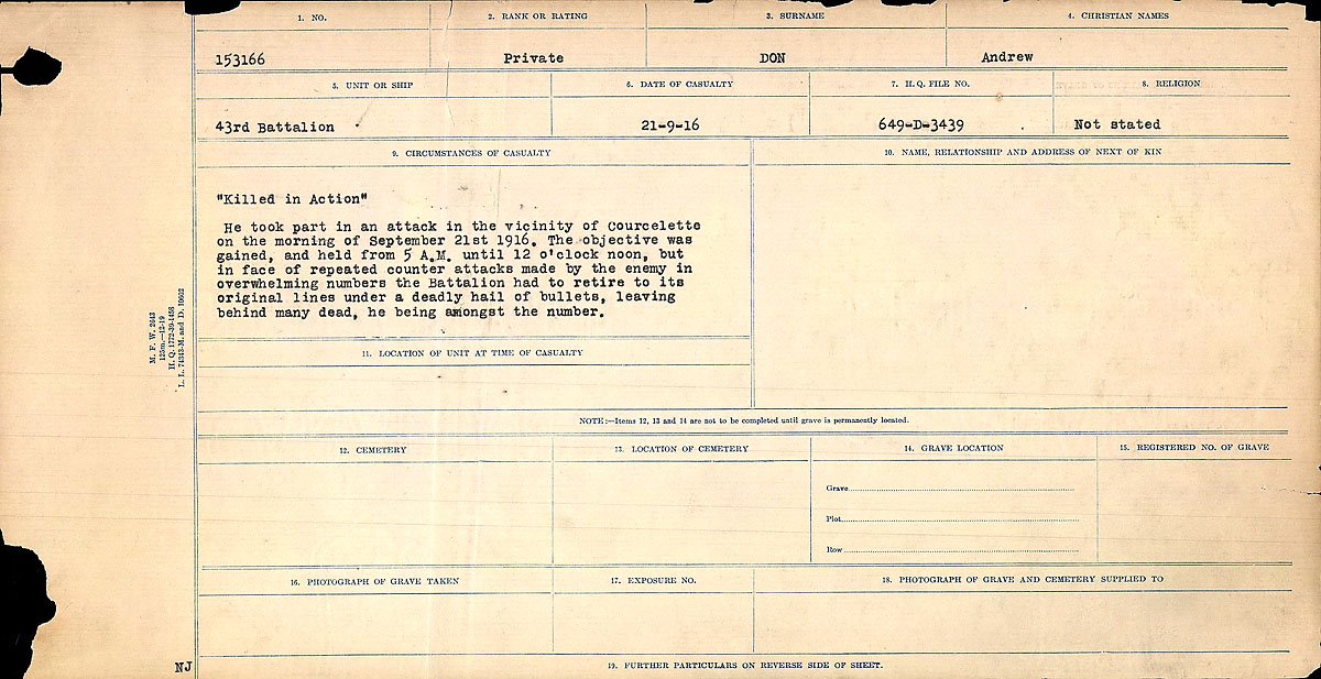 Title: Circumstances of Death Registers, First World War - Mikan Number: 46246 - Microform: 31829_B016738