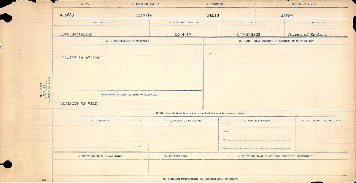 Title: Circumstances of Death Registers, First World War - Mikan Number: 46246 - Microform: 31829_B016741