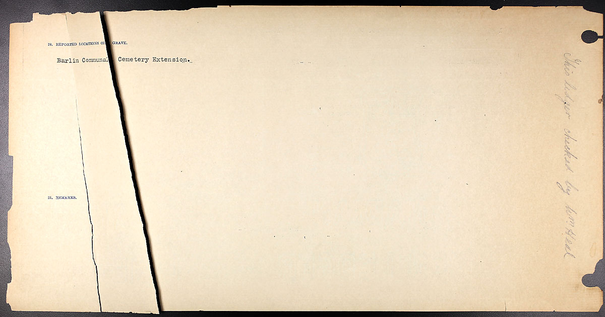 Title: Circumstances of Death Registers, First World War - Mikan Number: 46246 - Microform: 31829_B016743