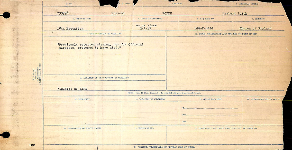 Title: Circumstances of Death Registers, First World War - Mikan Number: 46246 - Microform: 31829_B016744