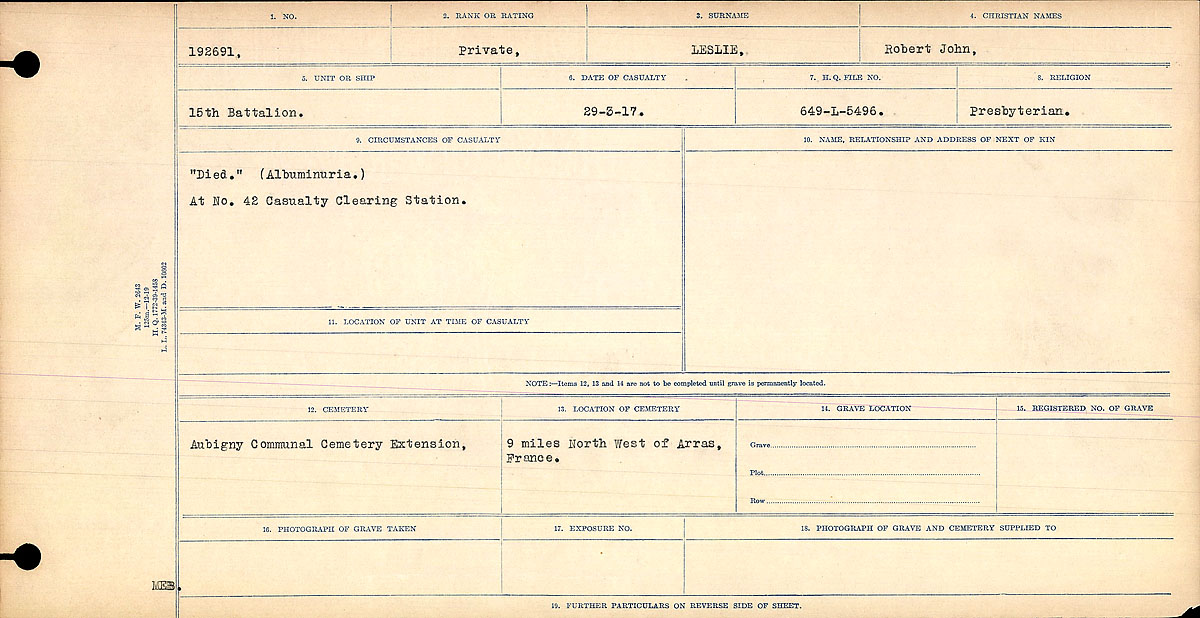 Title: Circumstances of Death Registers, First World War - Mikan Number: 46246 - Microform: 31829_B016748