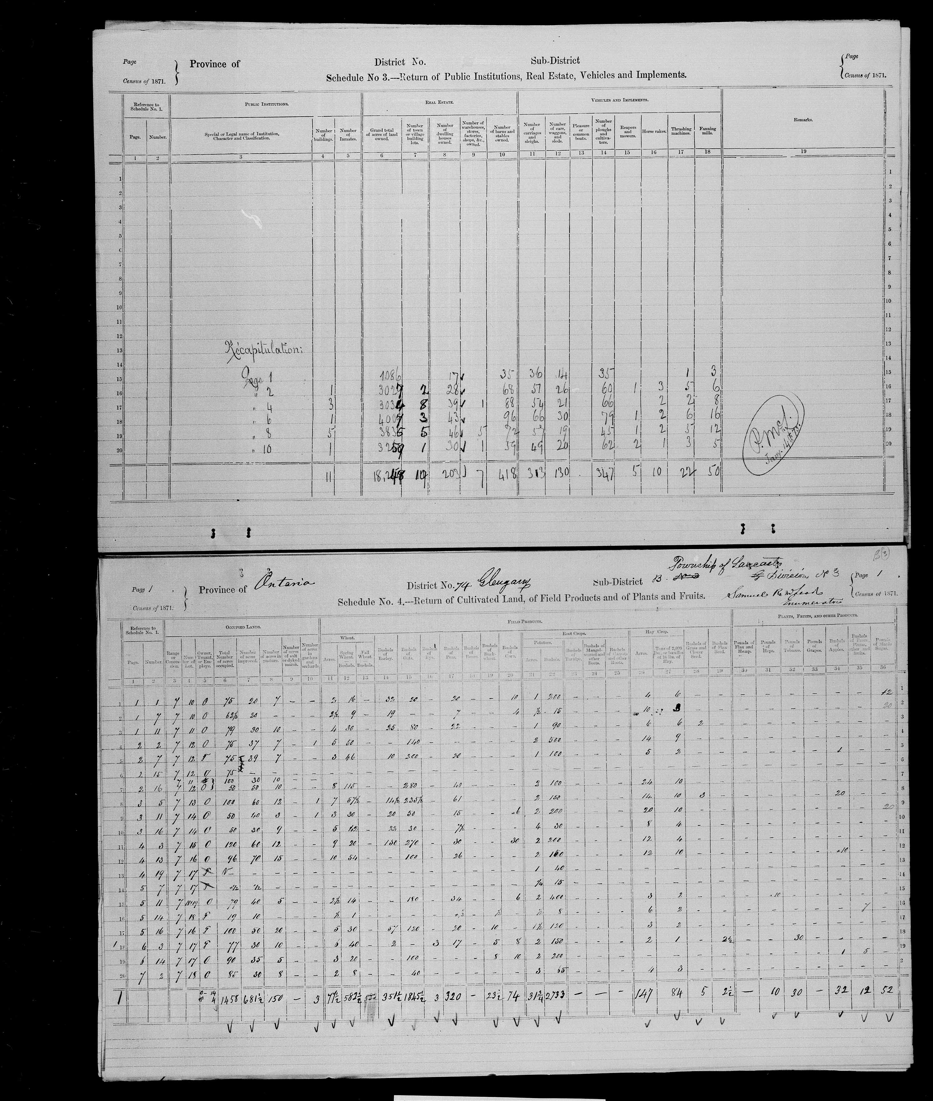 Title: Census of Canada, 1871 - Mikan Number: 142105 - Microform: c-10009