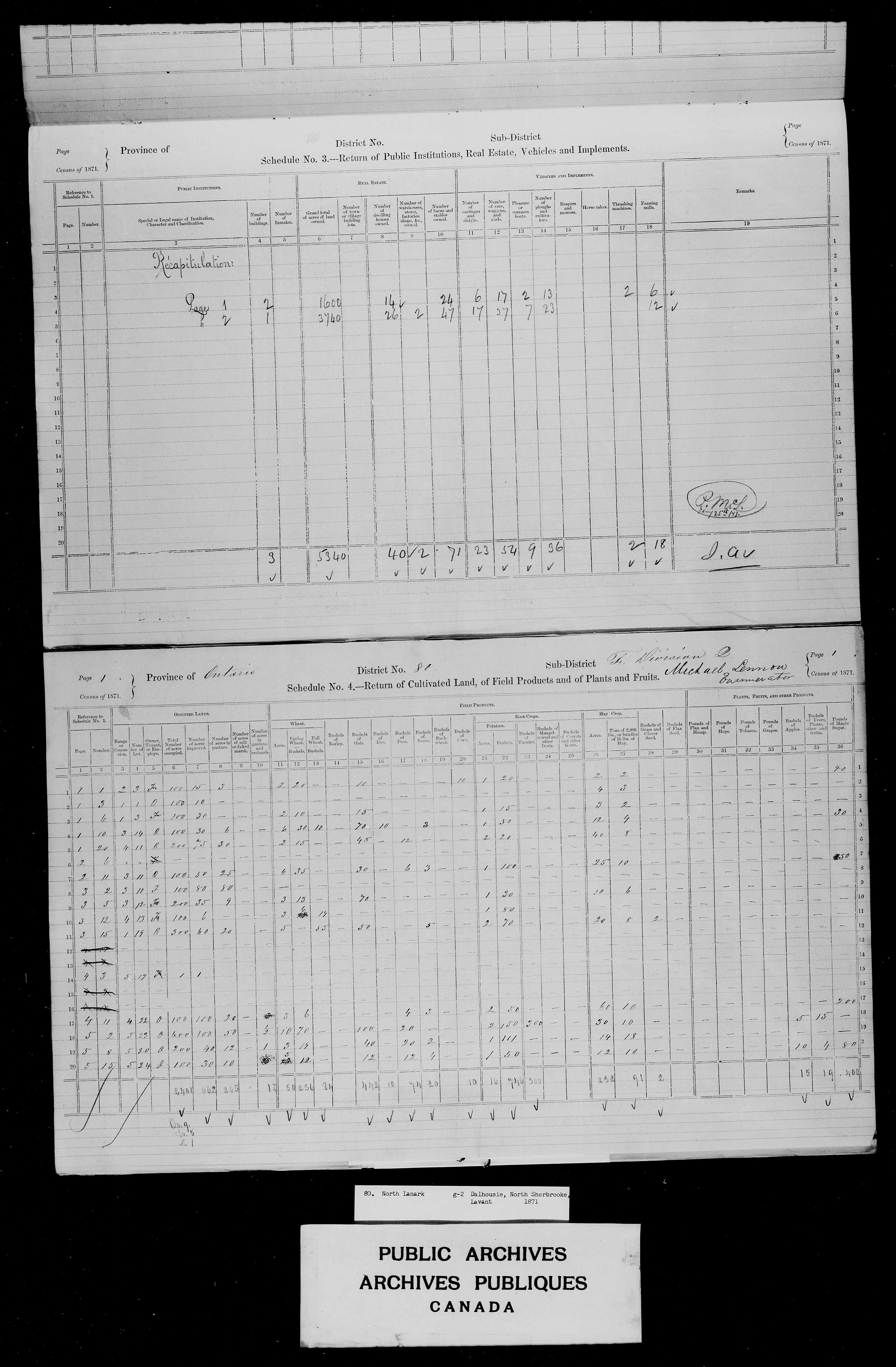 Title: Census of Canada, 1871 - Mikan Number: 142105 - Microform: c-10019