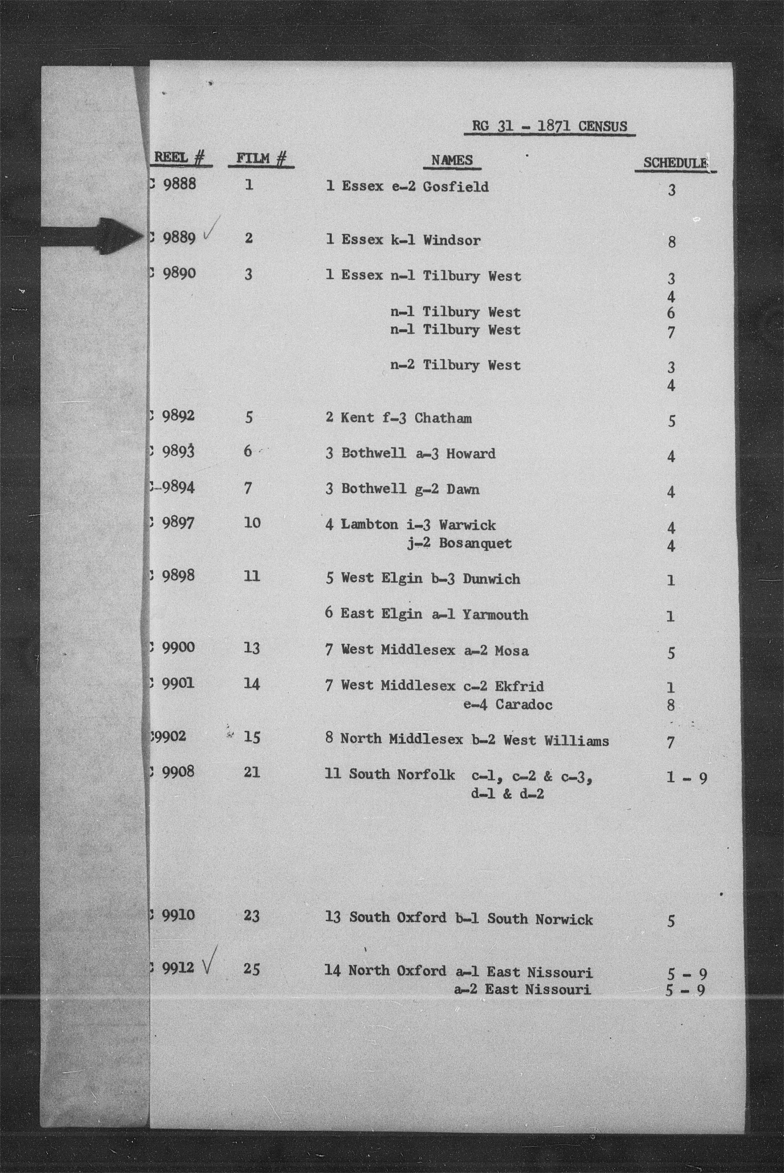Titre: Recensement du Canada (1871) - N° d'enregistrement Mikan: 194056 - Microforme: c-9889