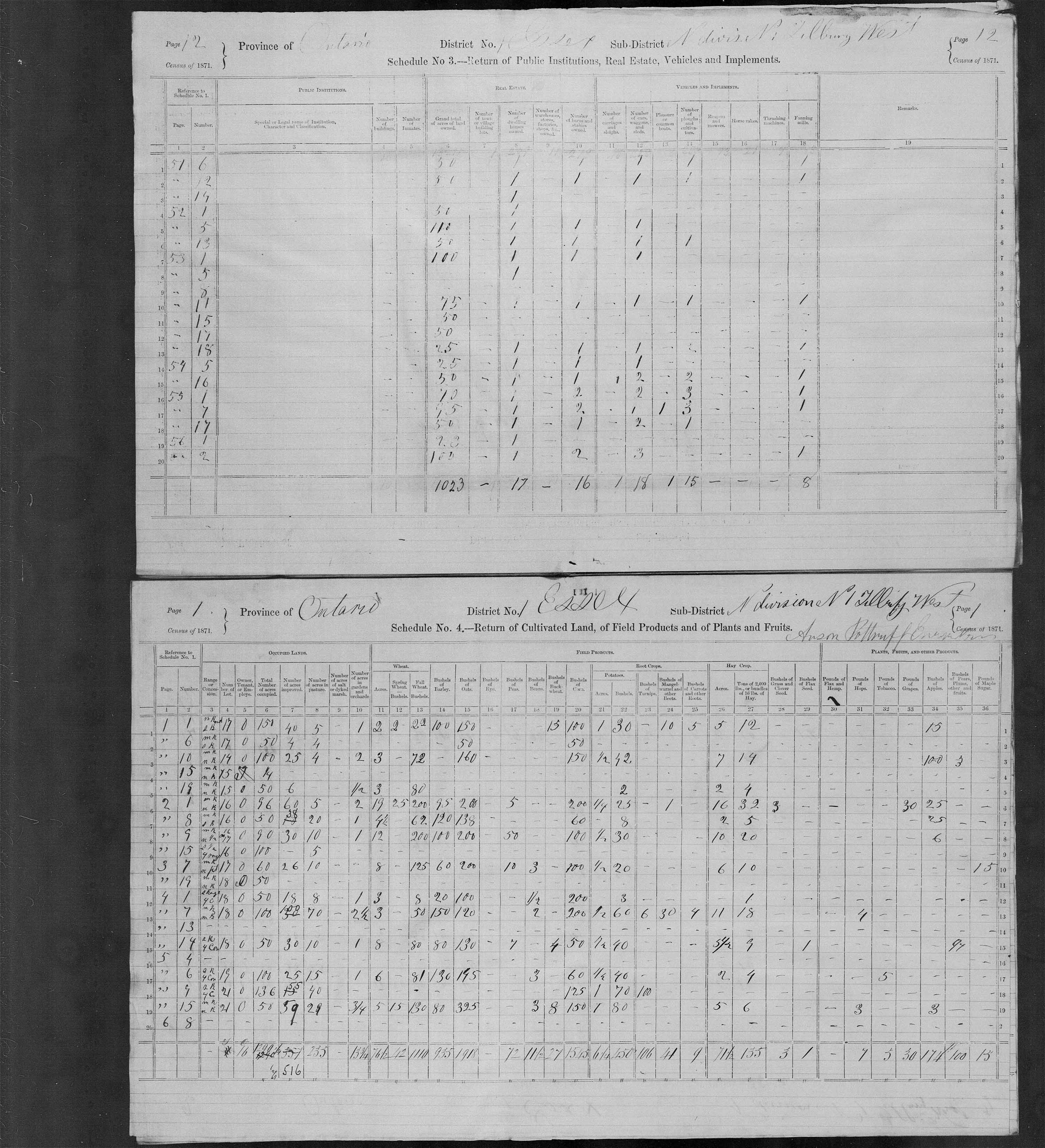 Title: Census of Canada, 1871 - Mikan Number: 142105 - Microform: c-9890
