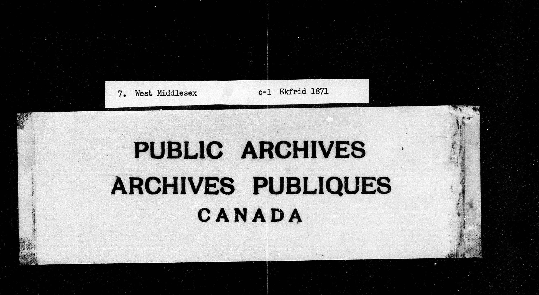 Titre: Recensement du Canada (1871) - N° d'enregistrement Mikan: 194056 - Microforme: c-9900