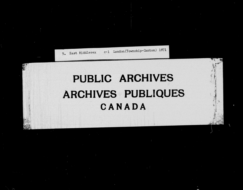 Titre: Recensement du Canada (1871) - N° d'enregistrement Mikan: 194056 - Microforme: c-9904