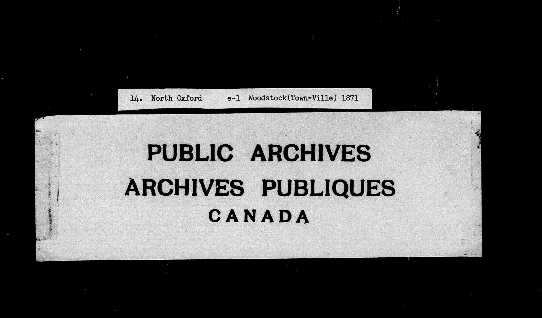 Titre: Recensement du Canada (1871) - N° d'enregistrement Mikan: 194056 - Microforme: c-9912
