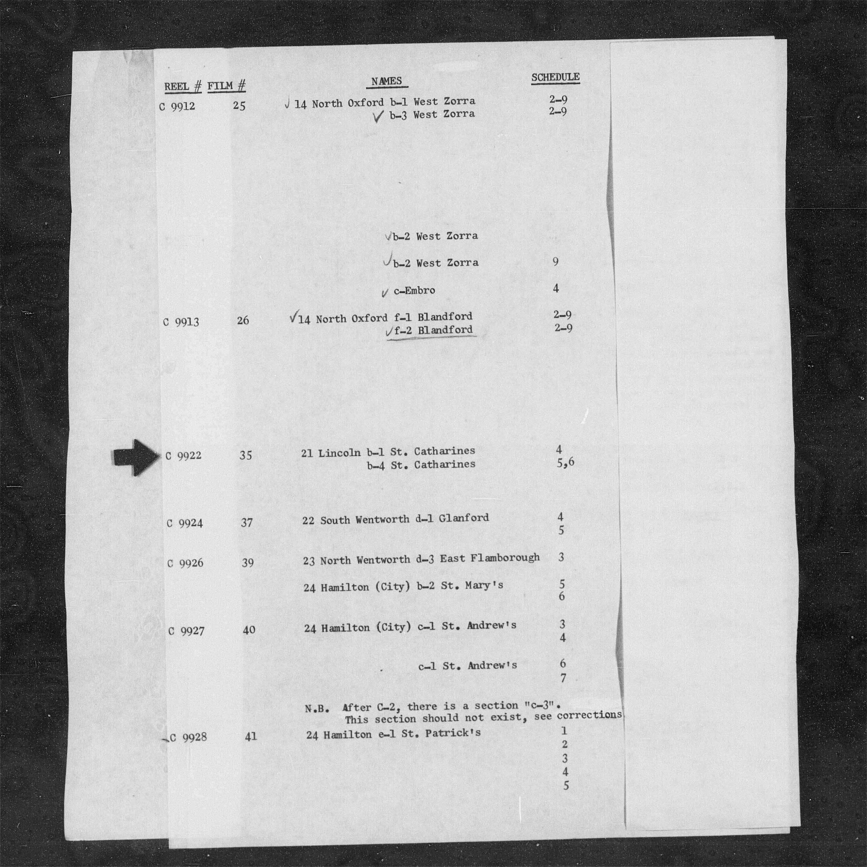 Titre: Recensement du Canada (1871) - N° d'enregistrement Mikan: 194056 - Microforme: c-9922