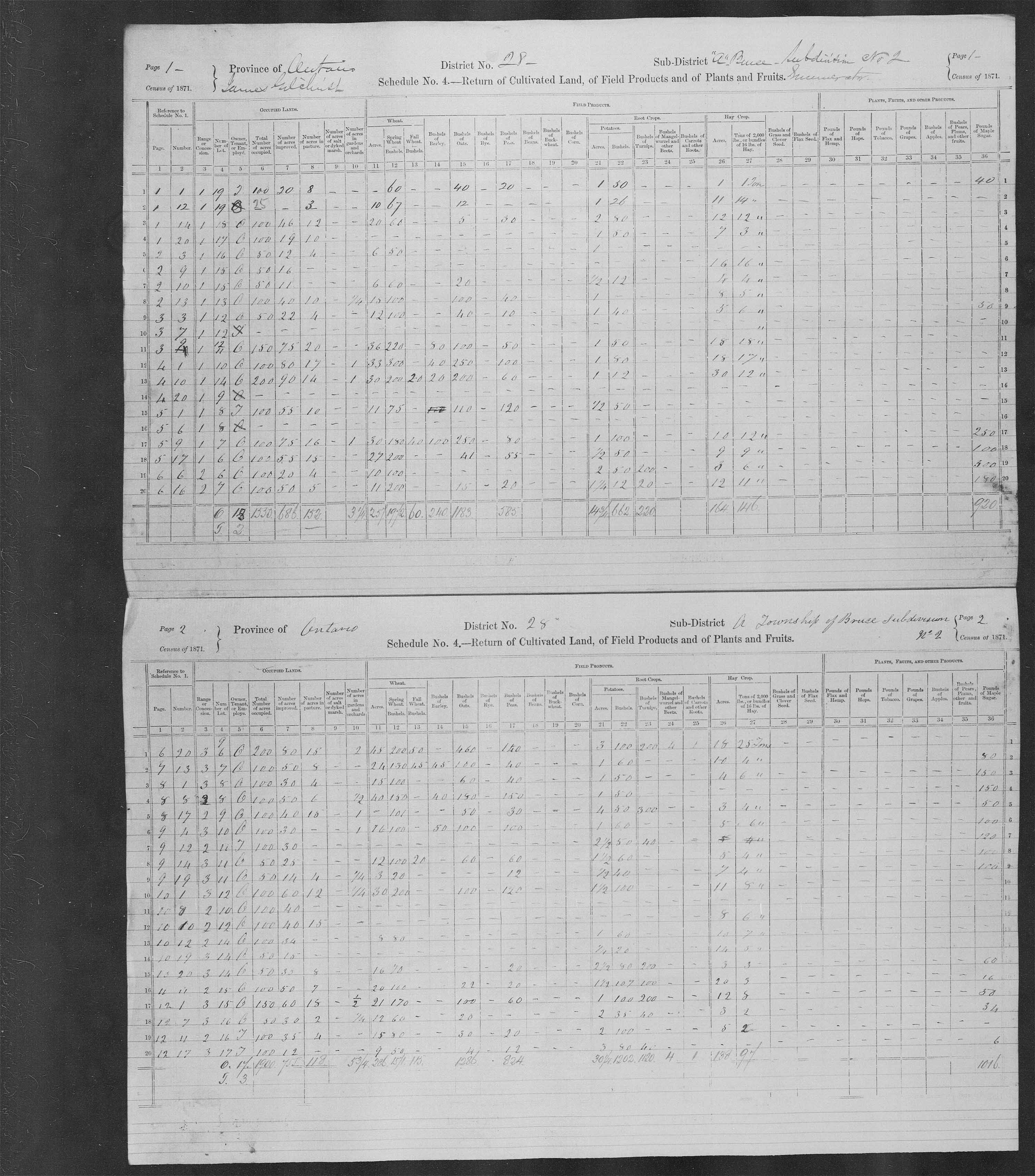 Title: Census of Canada, 1871 - Mikan Number: 142105 - Microform: c-9936