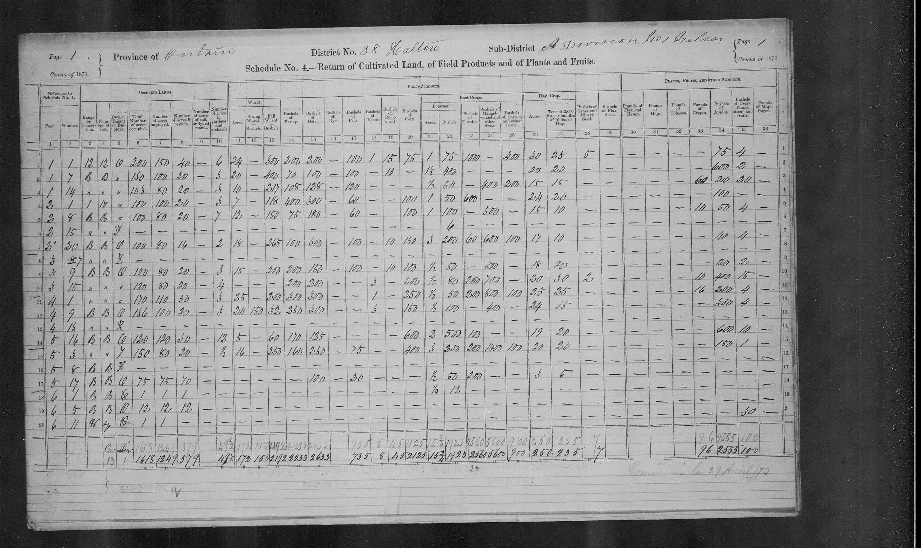 Title: Census of Canada, 1871 - Mikan Number: 142105 - Microform: c-9955