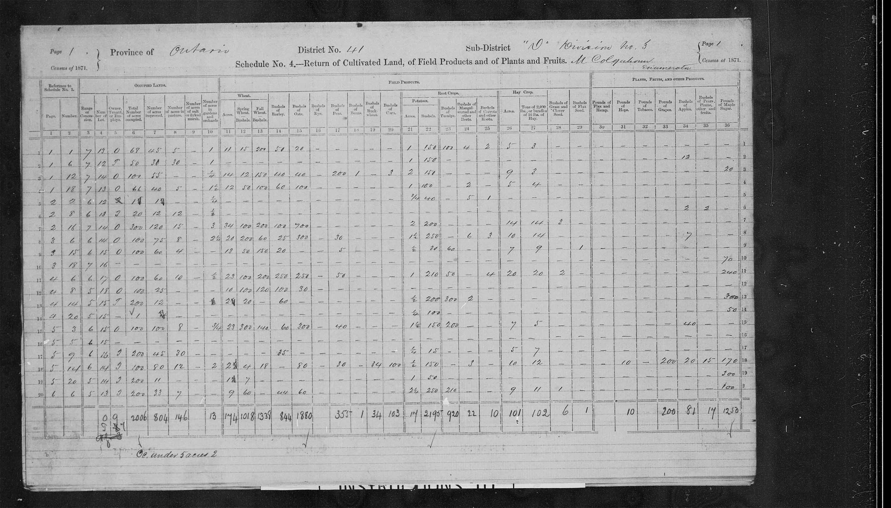 Title: Census of Canada, 1871 - Mikan Number: 142105 - Microform: c-9960