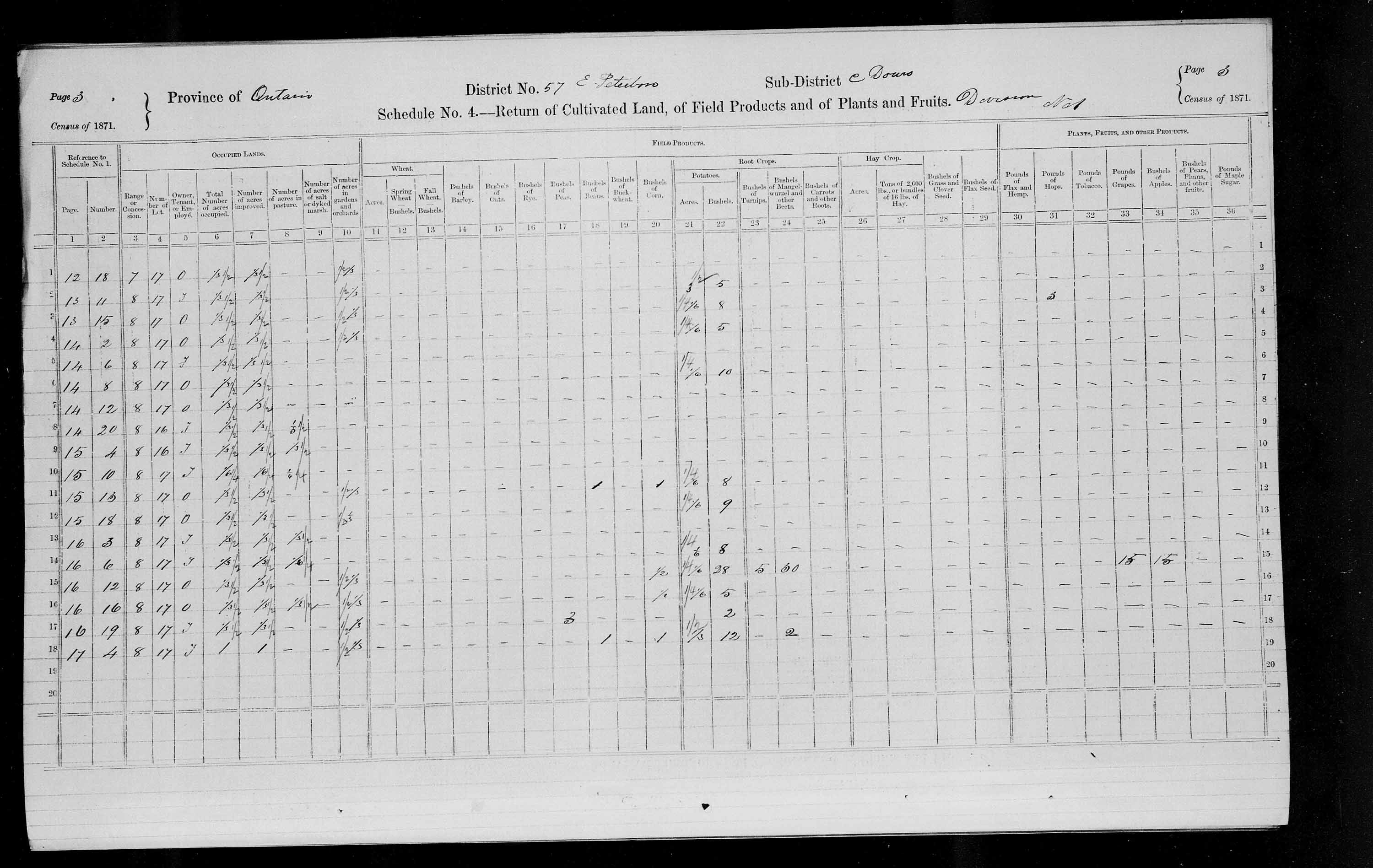 Title: Census of Canada, 1871 - Mikan Number: 142105 - Microform: c-9987