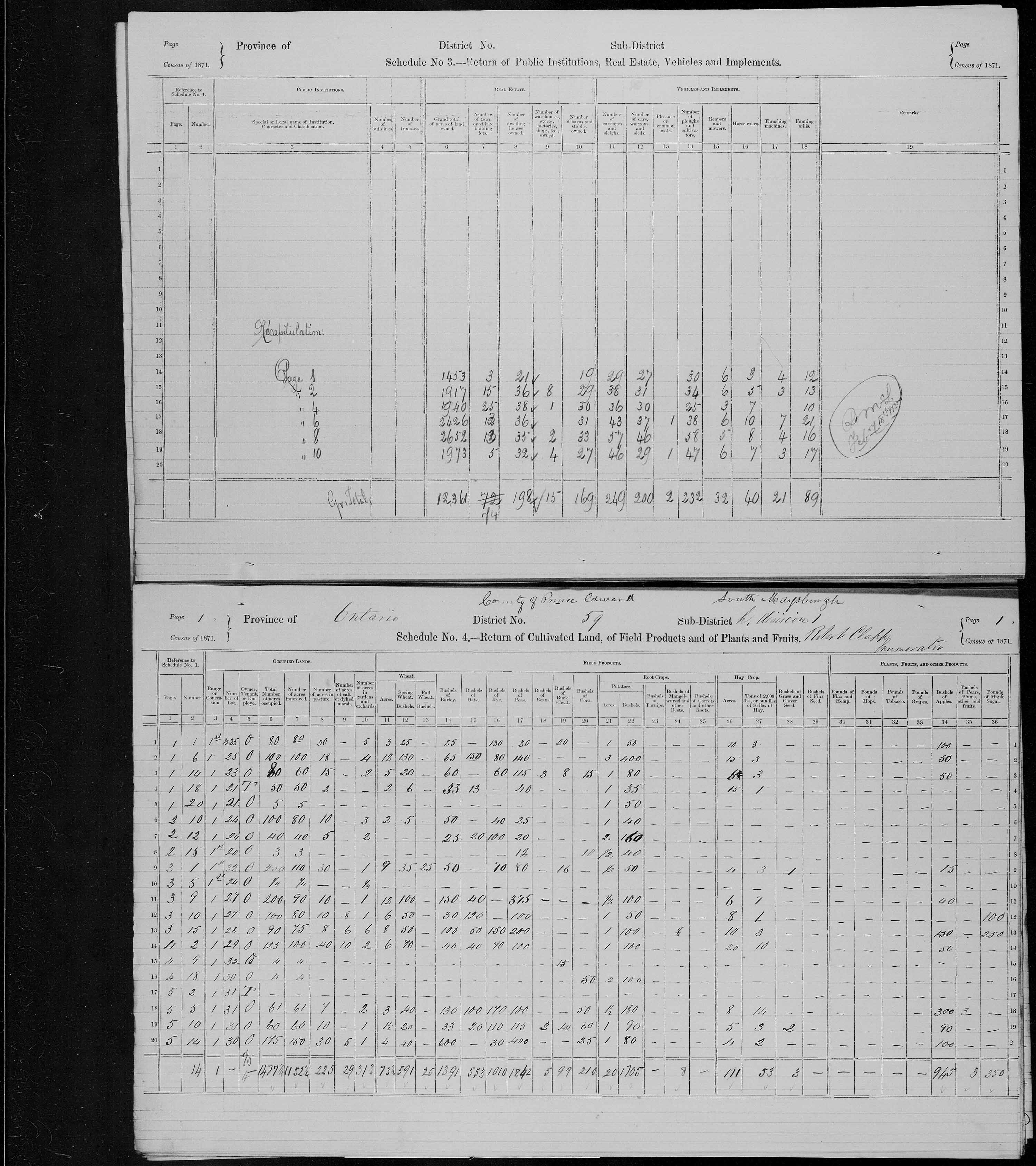 Title: Census of Canada, 1871 - Mikan Number: 142105 - Microform: c-9990