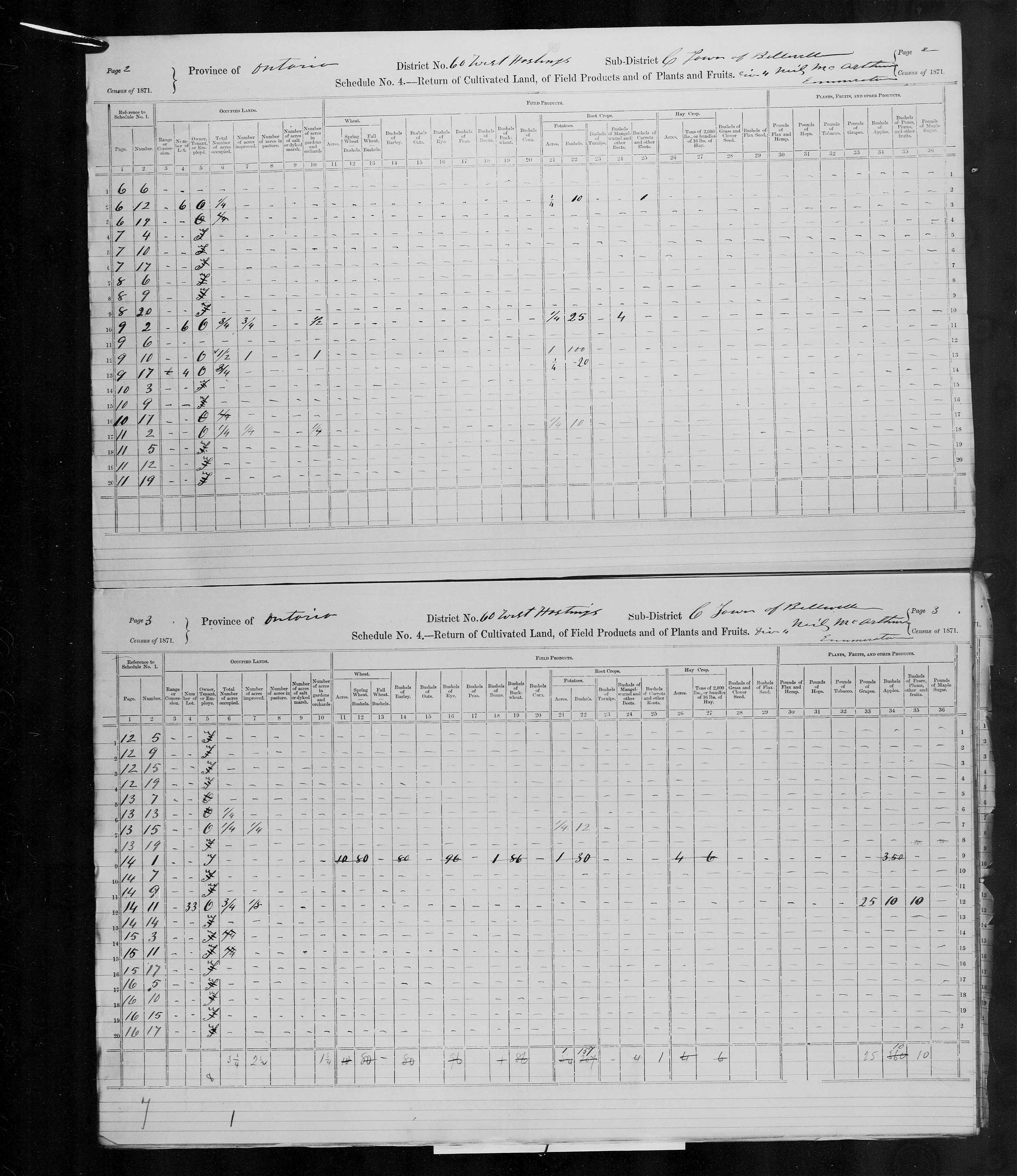 Title: Census of Canada, 1871 - Mikan Number: 142105 - Microform: c-9991