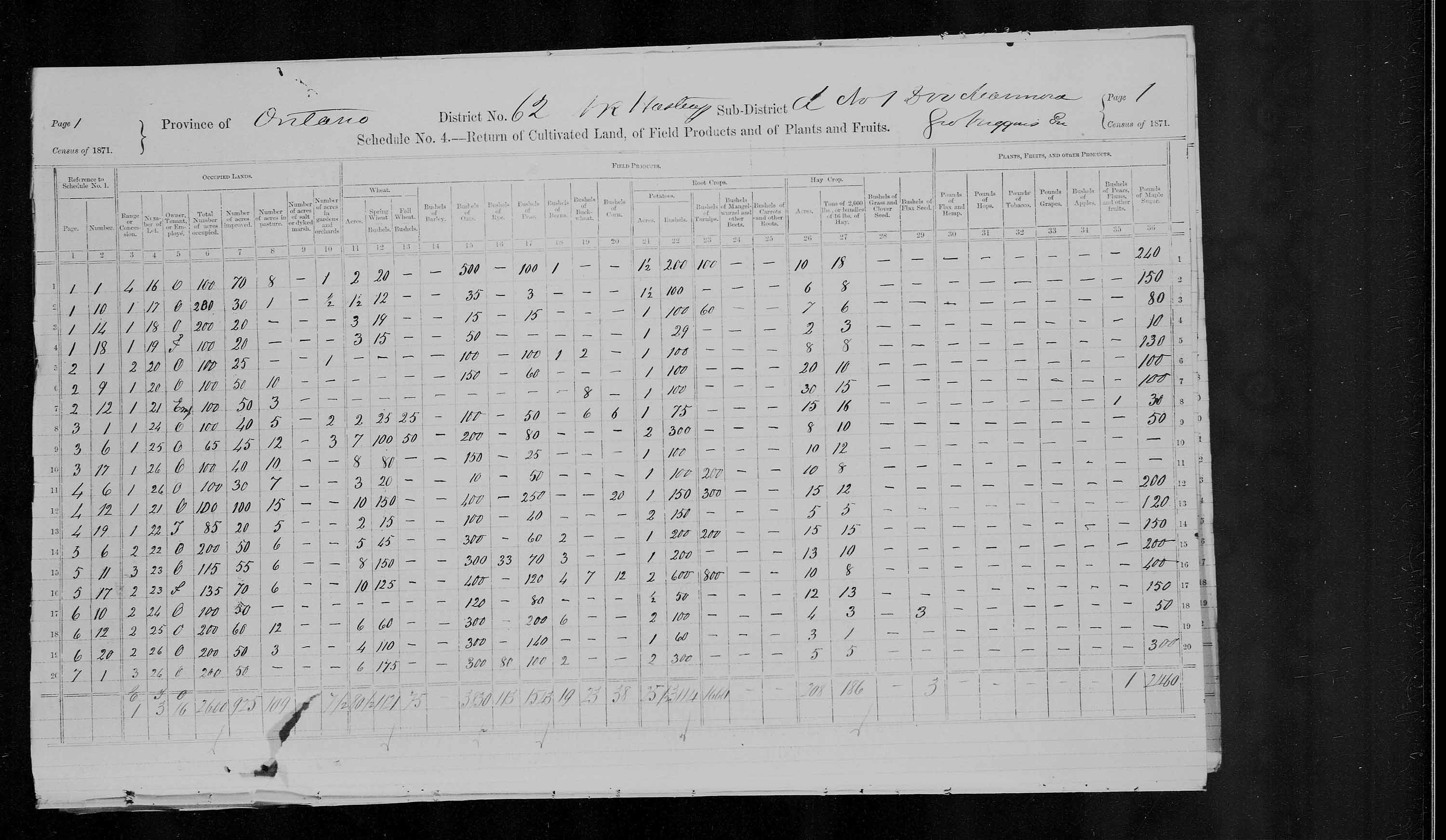 Title: Census of Canada, 1871 - Mikan Number: 142105 - Microform: c-9994